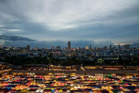 sep: 25 Sep 2017, colorful food stalls at Rod Fai Night Market on 25 Sep 2017 in Bangkok, Thailand.