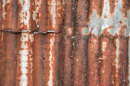 old rusty galvanized, corrugated iron siding vintage texture background, Rusty corrugated metal wall.