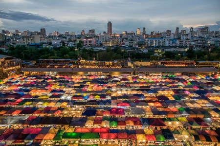 25 Sep 2017, colorful food stalls at Rod Fai Night Market on 25 Sep 2017 in Bangkok, Thailand.