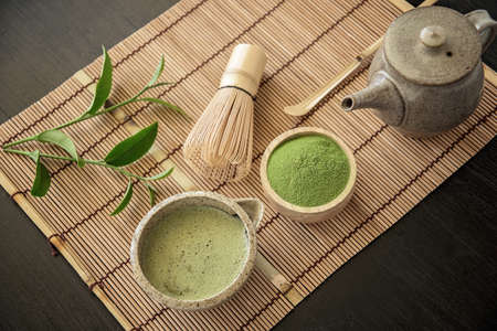 Matcha. Organic Green Matcha Tea ceremony. Matcha powder. Cooking with matcha, recipe Stock Photo