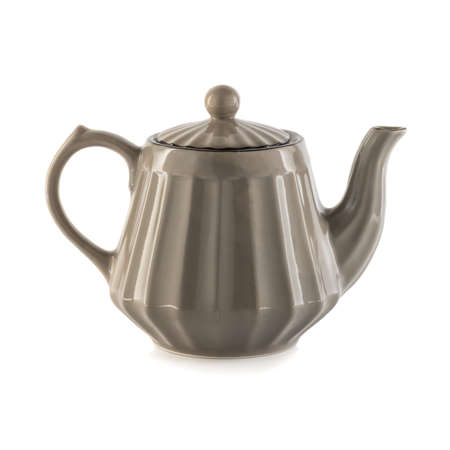 ceramic teapot on white background.