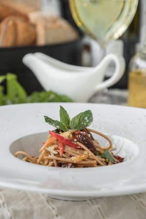 Spaghetti bolognese beef tomato sauce with vegetables italian food