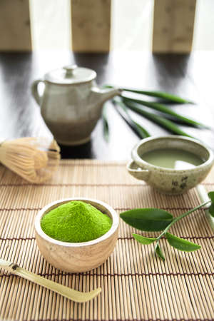 Matcha. Organic Green Matcha Tea ceremony. Matcha powder. Cooking with matcha, recipe 免版税图像