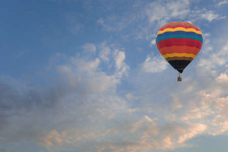 Hot air balloon in the sky sunset background for design 스톡 콘텐츠