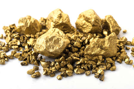 mound of gold close-up isolated on white background 스톡 콘텐츠
