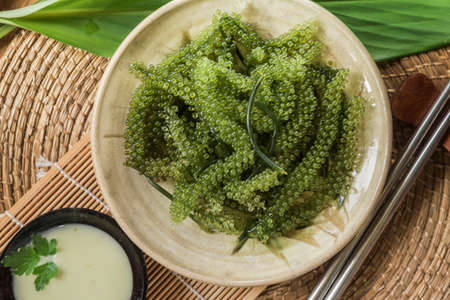 Umi-budou Seaweed or Green Caviar Healthy sea food or sea grapes seaweed on plate, Caulerpa lentillifera - sea grapes or green caviar.
