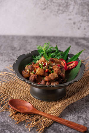 Fried Crispy Pork Belly Cooked with Garlic and Pepper Sauce