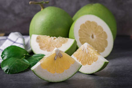 Pomelo Fruit on dark Background.