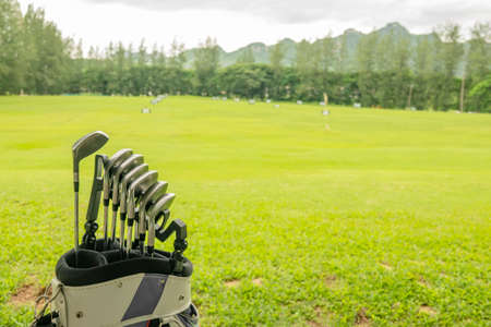 Golf clubs drivers over green field background. Summer sunset 写真素材