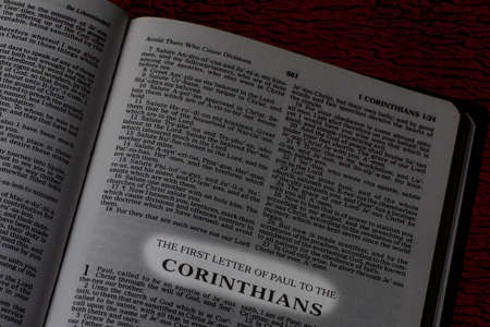 Bible, Book of First Corinthians, Book Title Highlighted