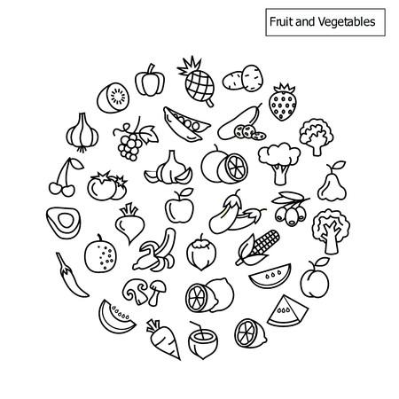과일 및 야채 아이콘 벡터
