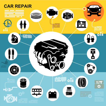 exhaust pipe: Car repair Engine vector