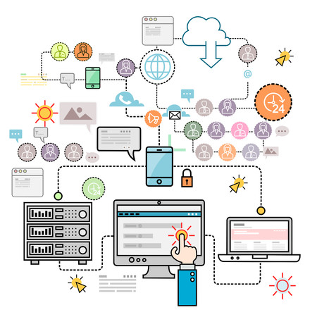 cloud: Design concepts for data architecture, big technology, database, mobile cloud computing, cloud platform and solutions vector Illustration