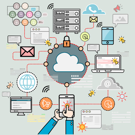 Design concepts for data architecture, big technology, database, mobile cloud computing, cloud platform and solutions vector Illustration