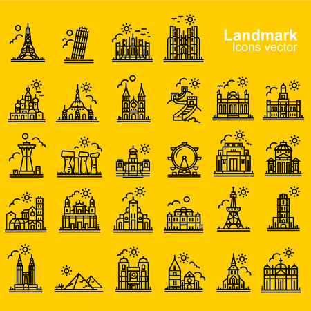 destinations: landmarks and travel destinations outline icons vecter
