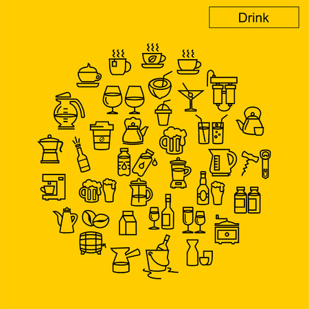 Drink icons vector 向量圖像