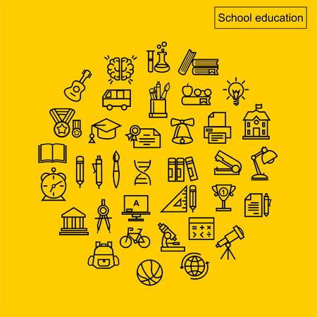 Schoolonderwijs iconen vector.