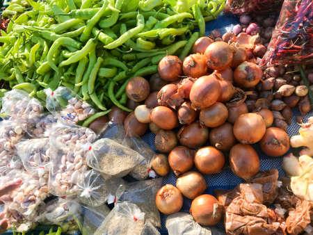 green pepper, onion, garlic and dried chili