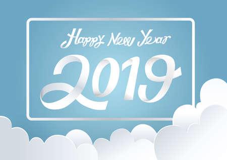 happy new year 2019  イラスト・ベクター素材