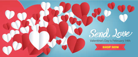 The blue background has a large heart shape alternately used for the Valentines Day website banner.