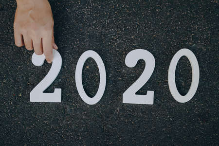 Road background with numbers 2020,Happy new yaer