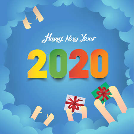background for the new year illustrated work-vector Çizim