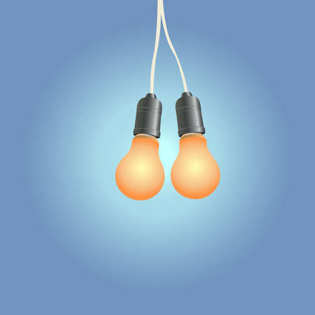 The incandescent light bulb shines at night Vectores