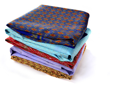 Pile beautiful Thailand silk scarves Stock Photo