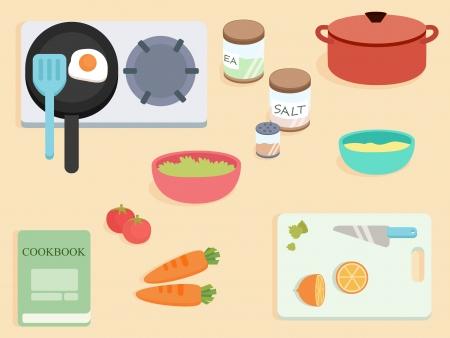상단: 평면 디자인 - 상위 뷰 요리 테이블
