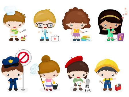 the profession: Children profession character Illustration