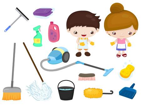 gospodarstwo domowe: Czyszczenie narzędzi - dzieci ustawione