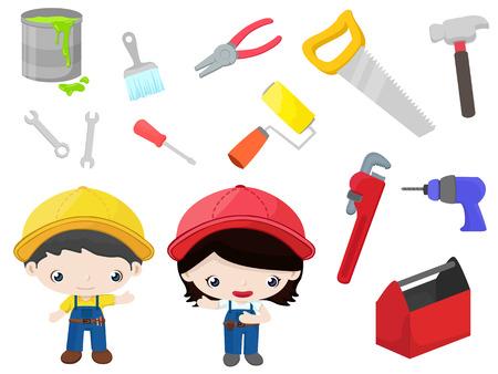 outils construction: Les outils de construction - enfants mis Illustration