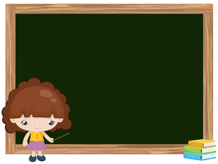 Cartoon of girl teaching on blackboard Vector