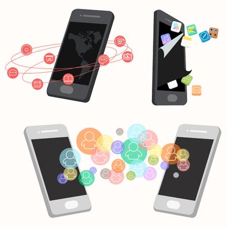 mobile communication: flat design - mobile application communication concept Illustration