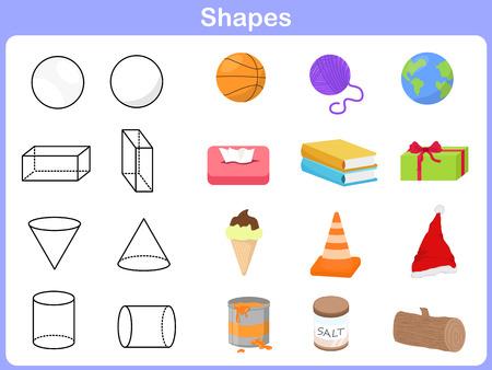 Het leren van de vormen met object voor kinderen Stock Illustratie