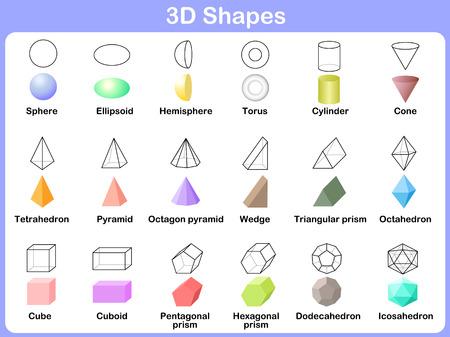 geometria: forma 3D: Aprender las formas 3D para los niños Vectores