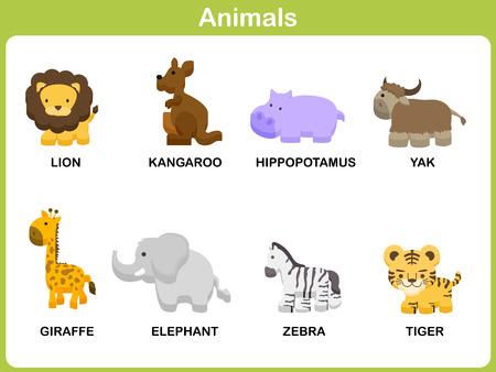 tigre bebe: Lindo vector Conjunto de animales para los niños: Diseño plano