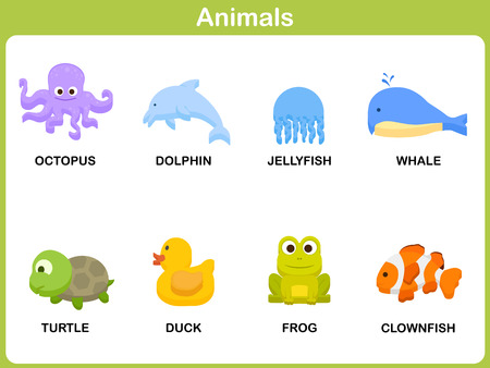 Cute vector Set of Animal for kids : Flat design Vector
