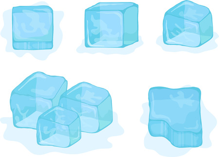 ice surface: Vector ice-cubes on white background