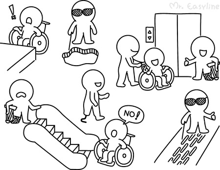 Pencil drawing - People with disabilities Vector