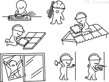 Pencil drawing as vector of technician Vector
