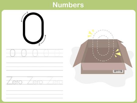 Número De Trazado Hoja De Trabajo: Escribir 0-9 Ilustraciones ...