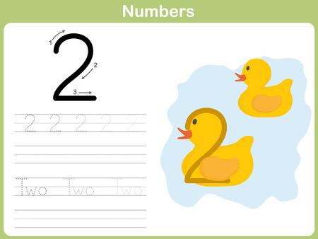Number Tracing Worksheet: Writing 0-9 Vector