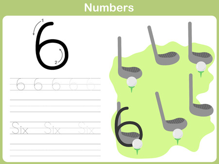Number Tracing Worksheet: Writing 0-9 Vector
