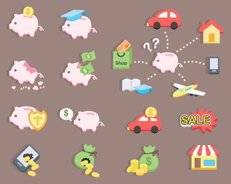 flat design - Piggy bank saving money  イラスト・ベクター素材