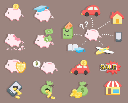 flat design - Piggy bank saving money Illustration