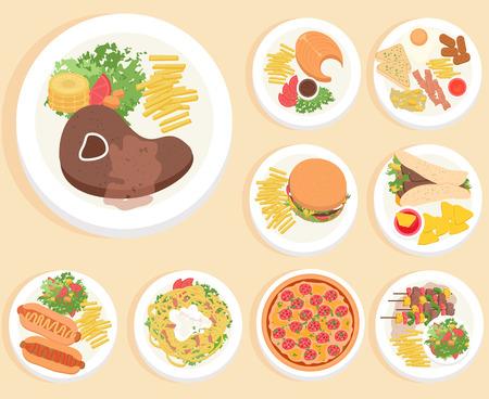 Alimentos en estilo de ilustración plana. Vista superior Foto de archivo - 31985589
