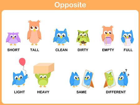 Opposite word for preschool  イラスト・ベクター素材