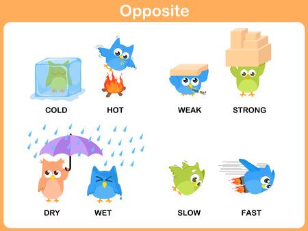 Opposite word for preschool Illustration