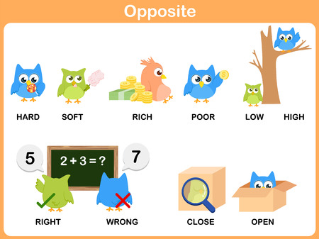 Opposite word for preschool 向量圖像